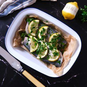Seabass - whole oven ready lemon & parsle